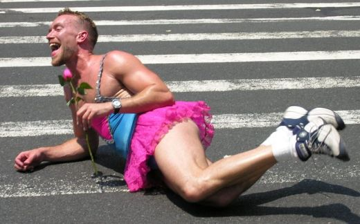 Unable to chase down Clay Aiken at the rally, Ronald simply fell down at the crosswalk and lay there sobbing with his rose.